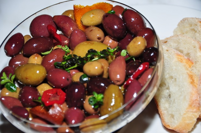 Warm olives with Vino Cotto