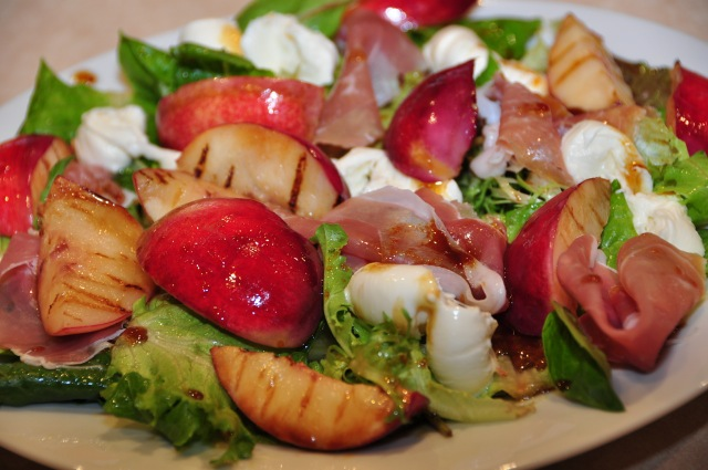 Grilled Nectarine, Proscuitto and Buffallo Mozzarella Vincotto salad
