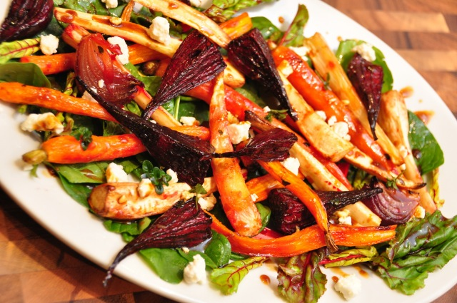 Roast Root Vegetables with Persian Feta and Vincotto Dressing