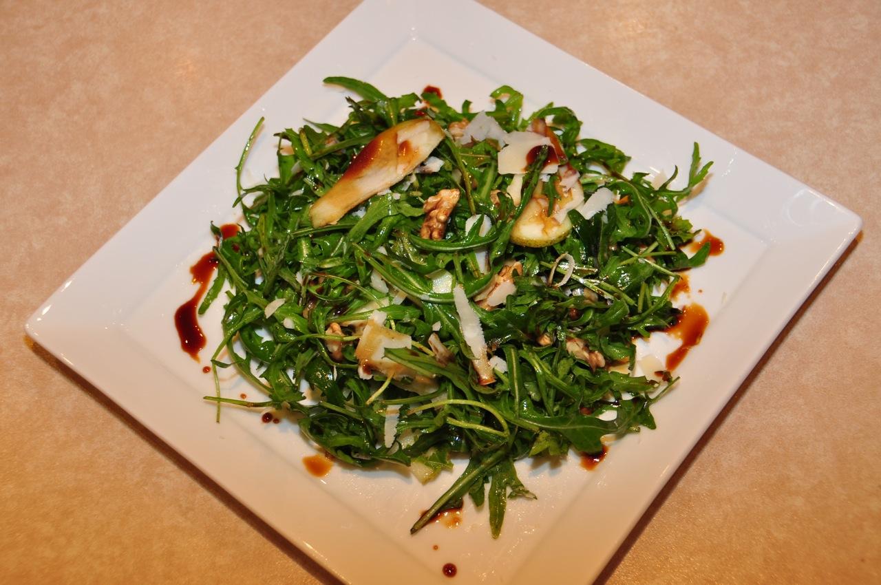 Rocket, Pear, Paremesan and Walnut salad with Vino Cotto dressing