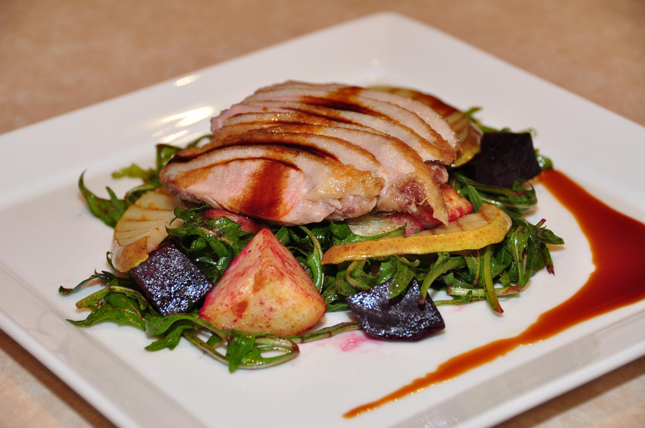 Roast Duck with Beetroot Grilled Pear and Vino Cotto salad