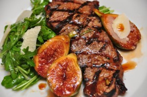 VinCotto Grilled Sirloin steak with grilled figs