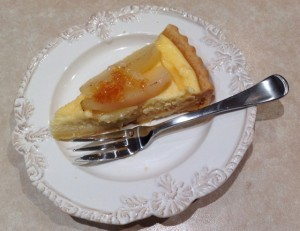 VinCotto Poached Pear and Orange Ricotta Tart slice