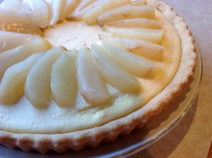 VinCotto Poached Pears with Orange Ricotta Tart